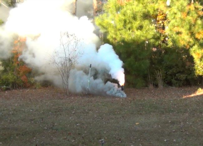 This smoke bomb weighs 15 pounds and consists of potassium nitrate with sugar.