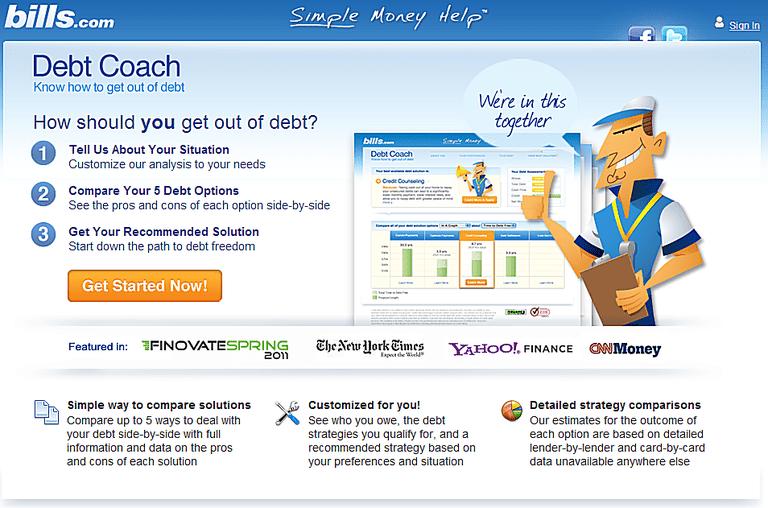 Debt Coach home screen.