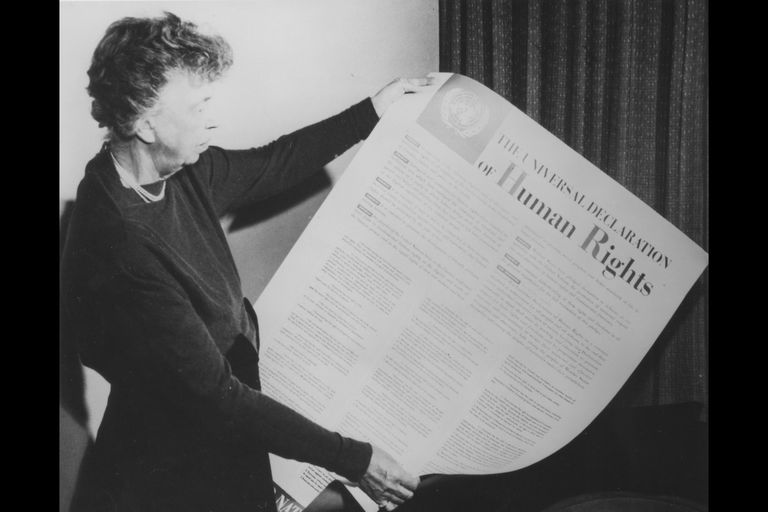Eleanor Roosevelt with the Universal Declaration of Human Rights, November 1949