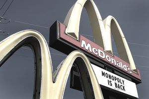 "Image of a McDonald's Sign Announcing ""Monopoly is Back"""