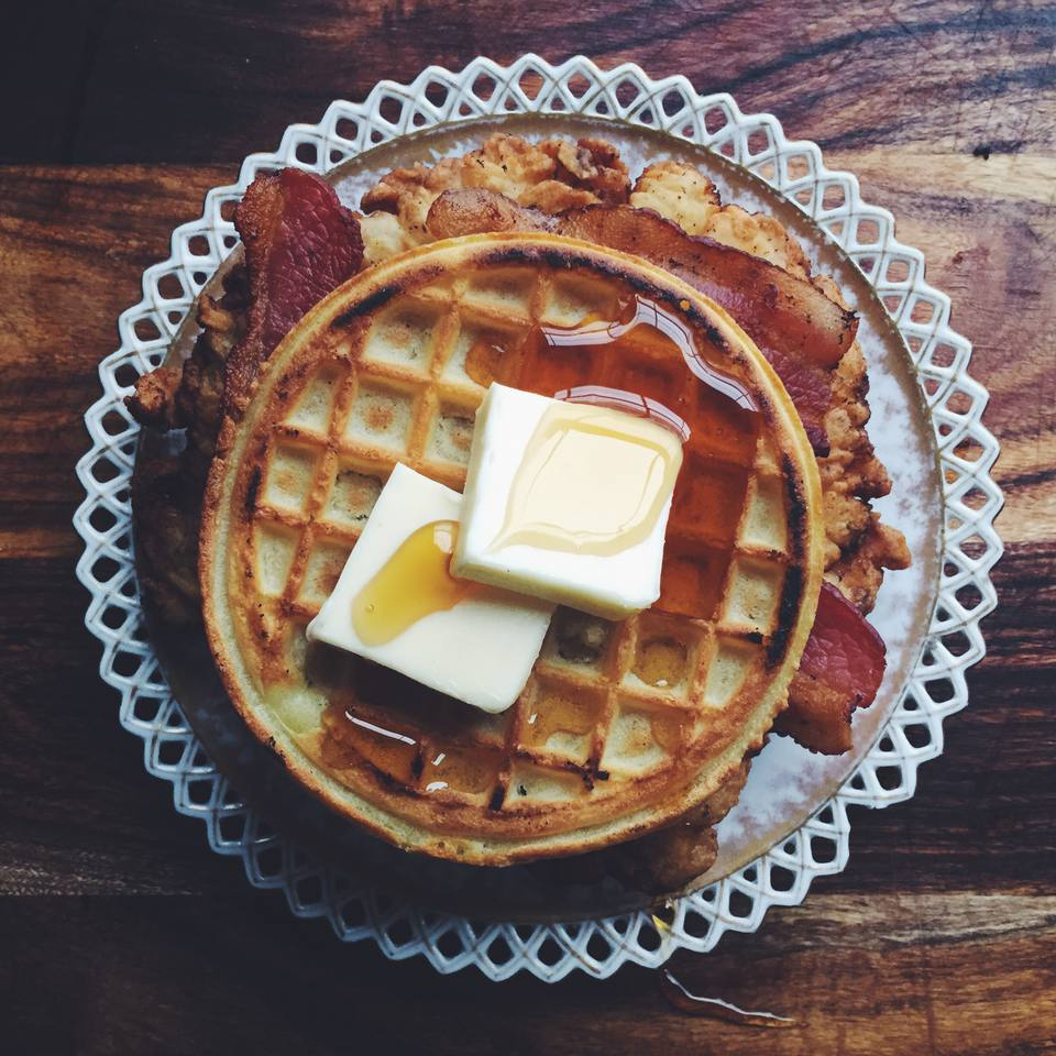 Fried Chicken, Bacon, And Waffle Sandwich