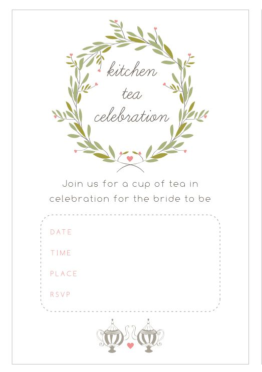 13 free printable bridal shower invitations with style kitchen tea bridal shower invitations from the pretty blog pronofoot35fo Gallery