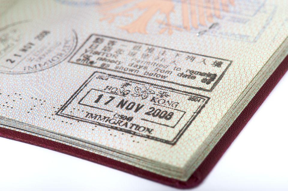 Hong Kong visa stamp