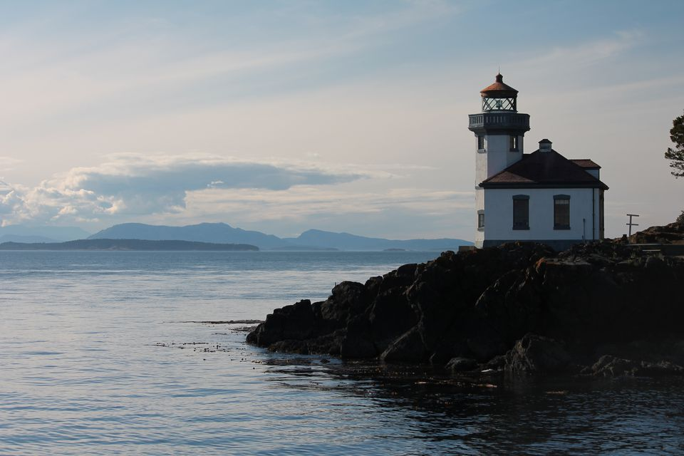 The lighthouse at Lime Kiln State Park is one of the best spots in the region for viewing whales - you can also see across Haro Strait toward Victoria, British Columbia from here