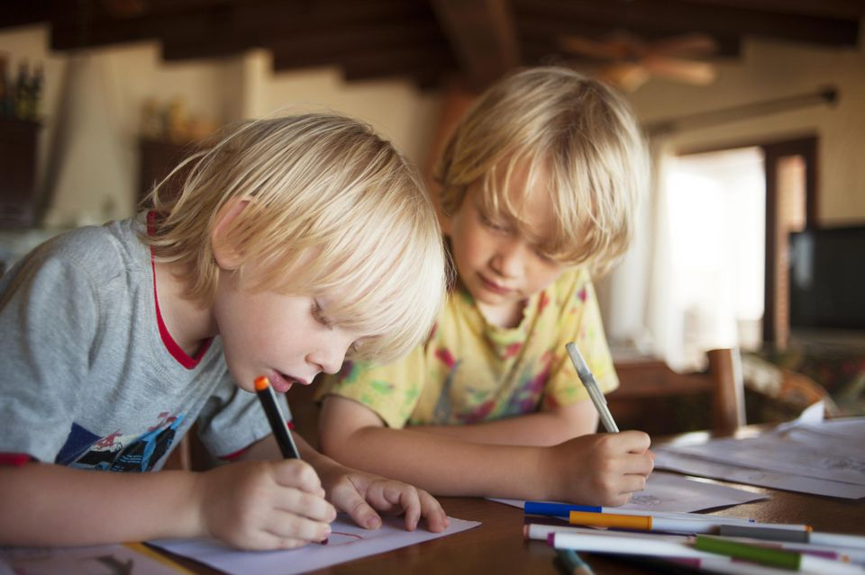 Two Young Brothers Coloring.