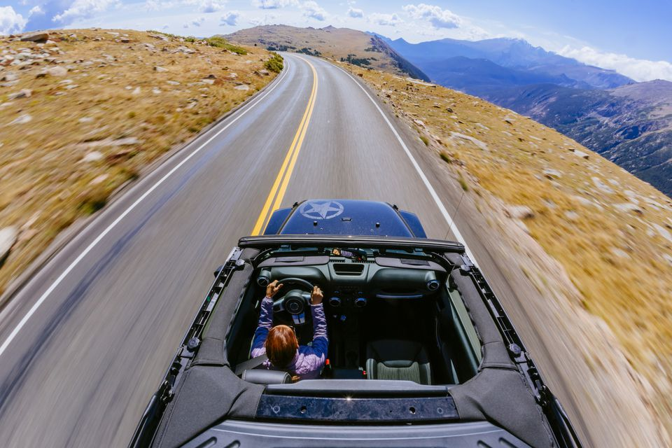 Jeep driving on Trail Ridge Road