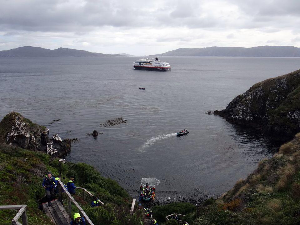 Hurtigruten Midnatsol anchored off Cape Horn