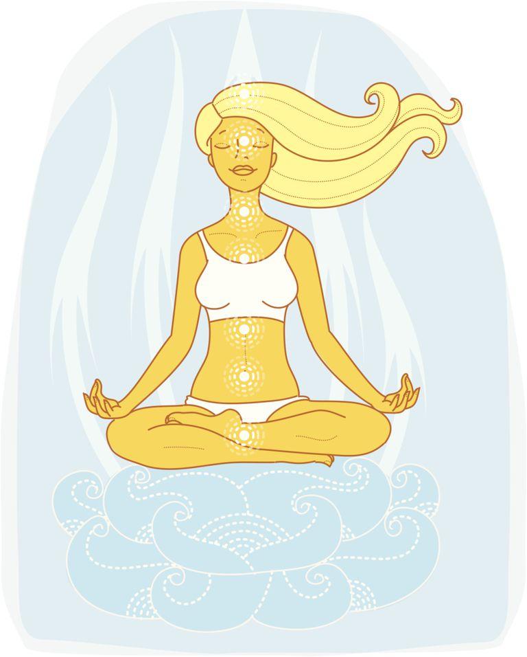 Gráfica de mujer meditando con chakras iluminados