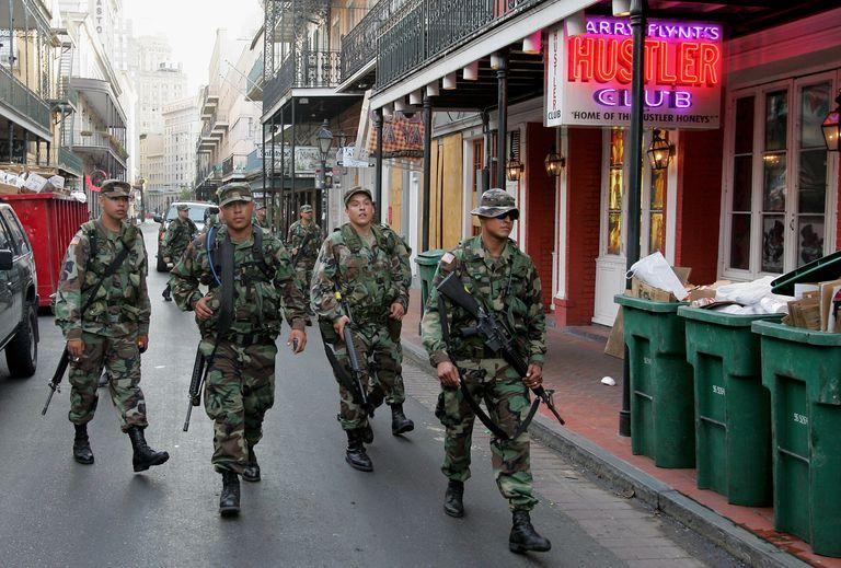 National Guard members patrol New Orleans.