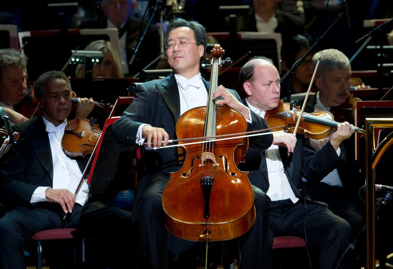 World renowned cellist, Yo-Yo Ma performs during the Academy of Music 155th Anniversary Concert ball at the Academy of Music on January 28, 2012 in Philadelphia, Pennsylvania.