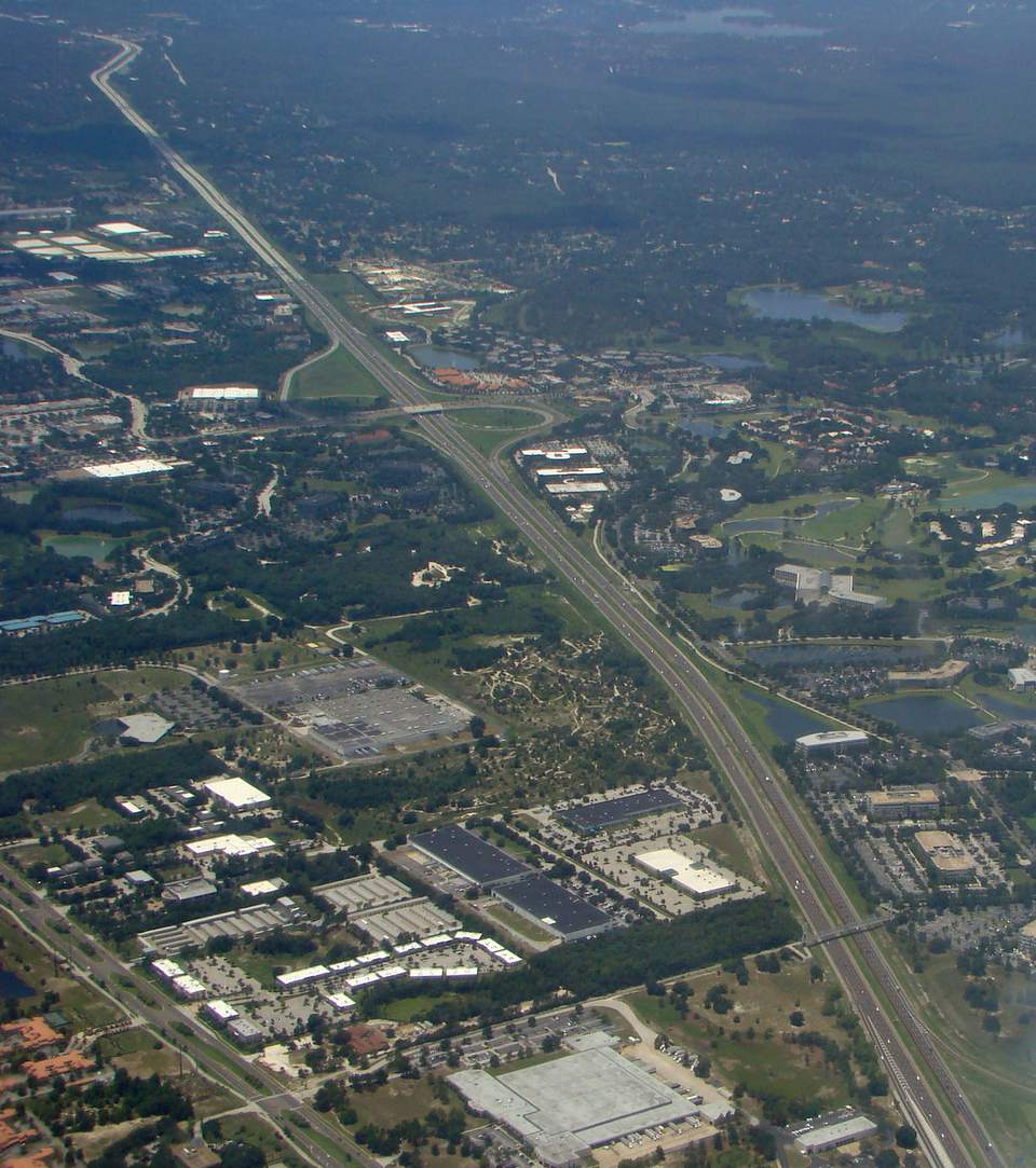 An aerial view of a Central Florida expressway.