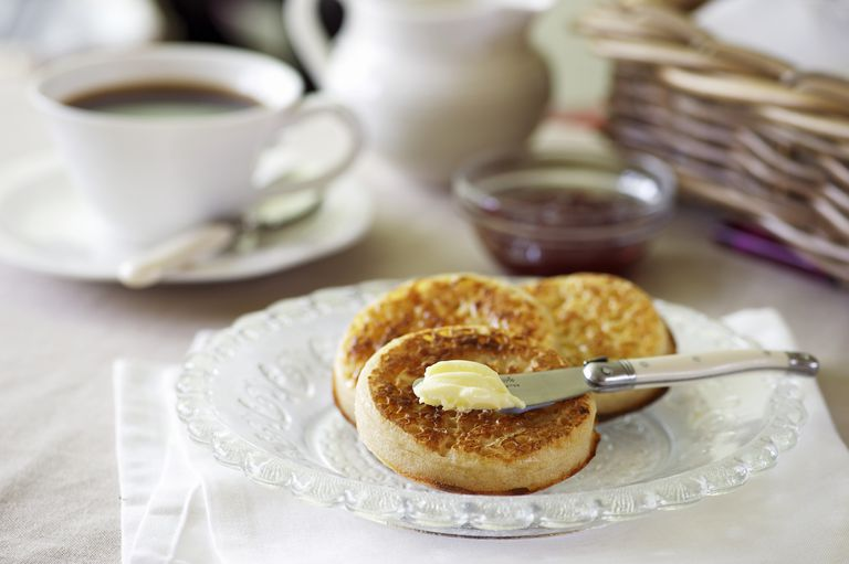 butter on crumpets
