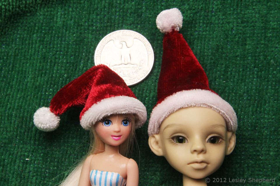 Santa hat and elf hat handsewn from stretch velvet for 1:12 and 1:24 scale dolls.