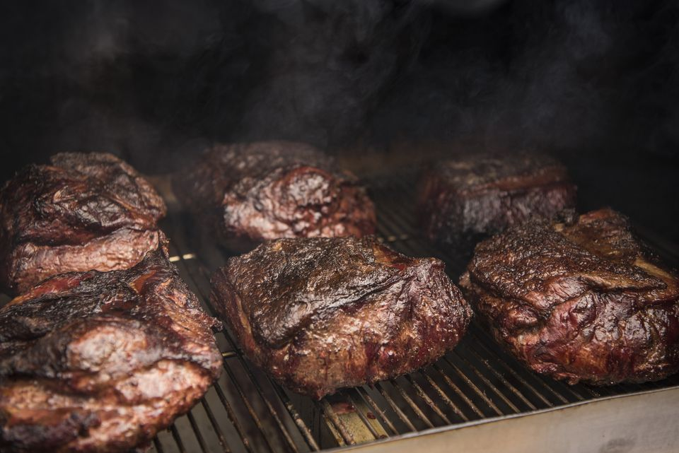 Barbecue in a smoker