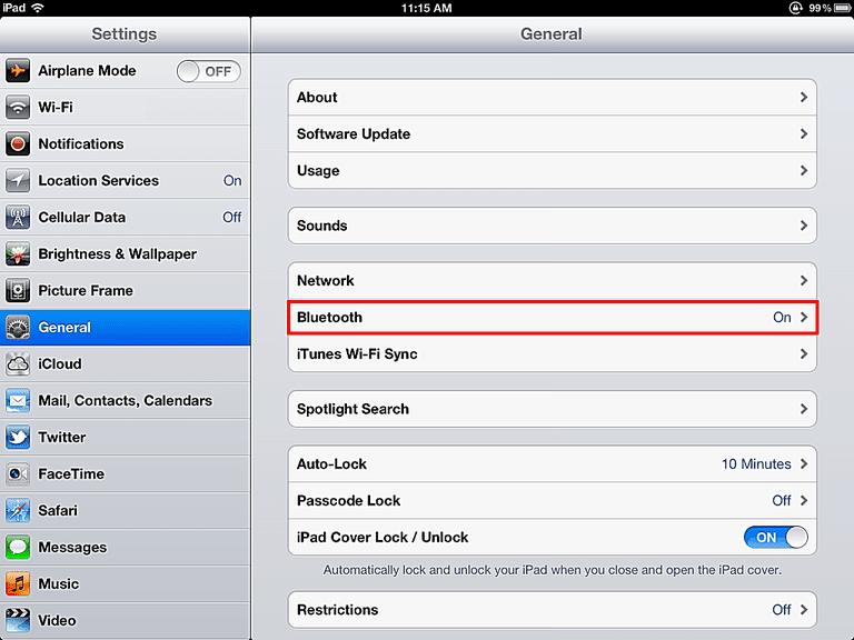 iPad Bluetooth Settings