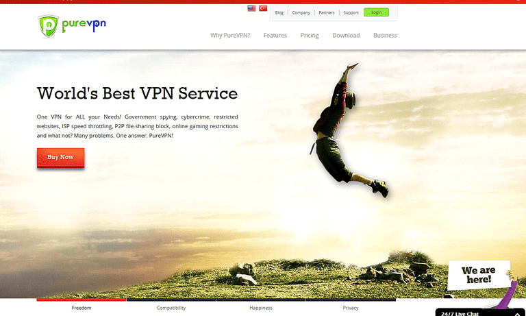 Screenshot of the PureVPN home page