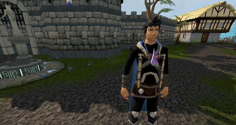 A player in RuneScape standing in Lumbridge.