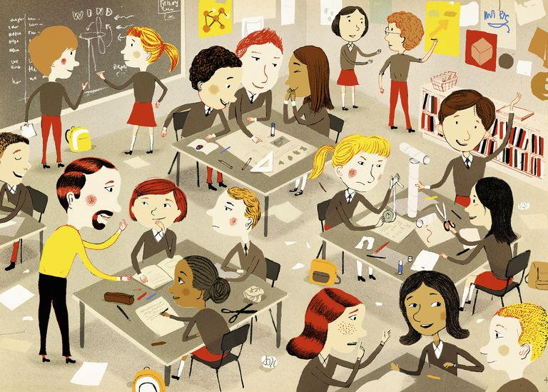 Students at work in classroom