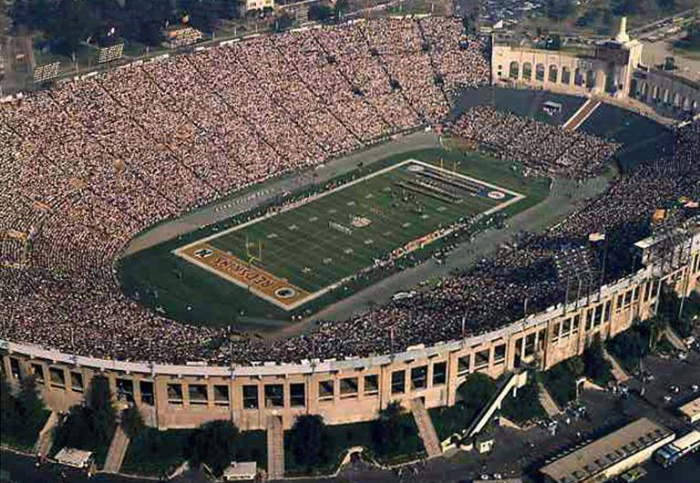 Aerial photo of open air Los Angeles Coliseum, California, site of 1973 Super Bowl VII