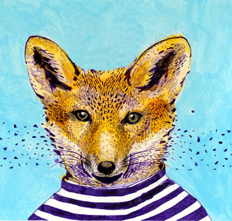 Drawing animals of fox with stripped shirt.