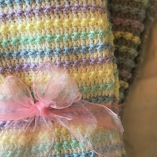Pastel Striped Baby Blanket Free Crochet Pattern