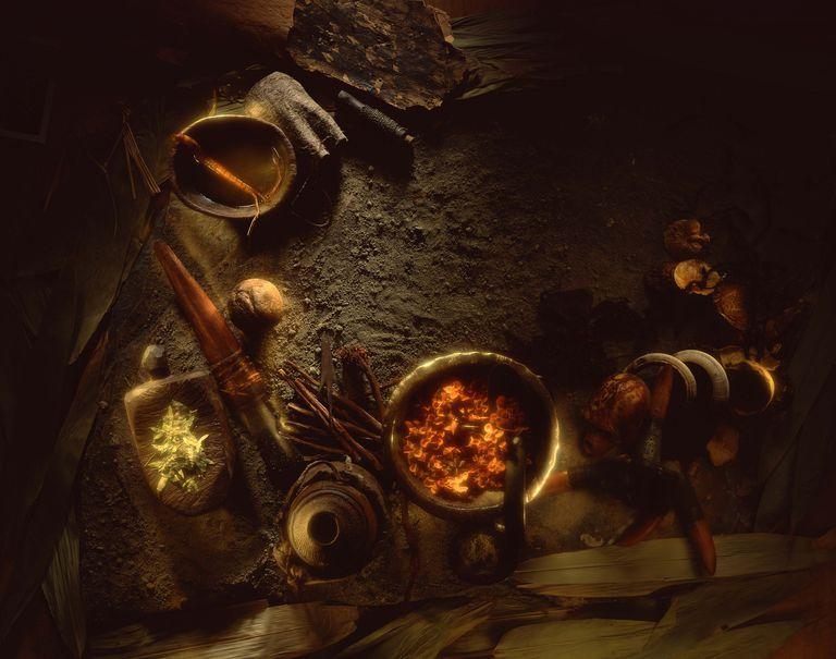 Rustic herbal alchemy still life