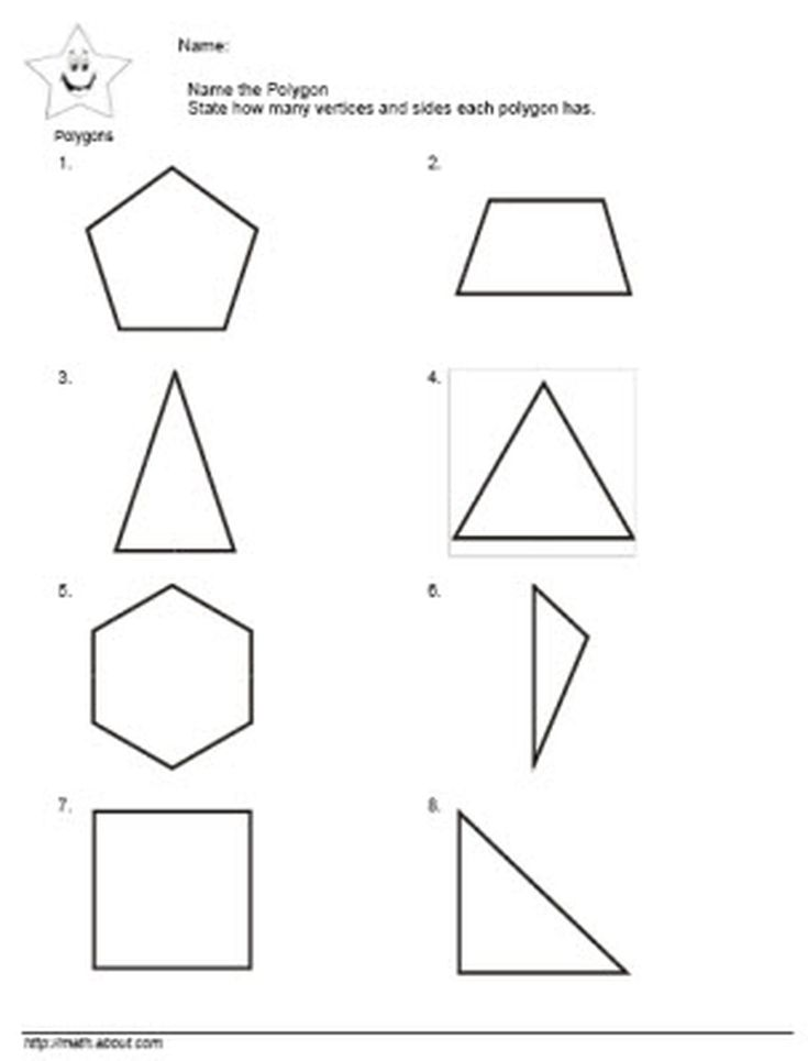 Geometry Worksheets Polygons Angles and Vertices – Types of Polygons Worksheet