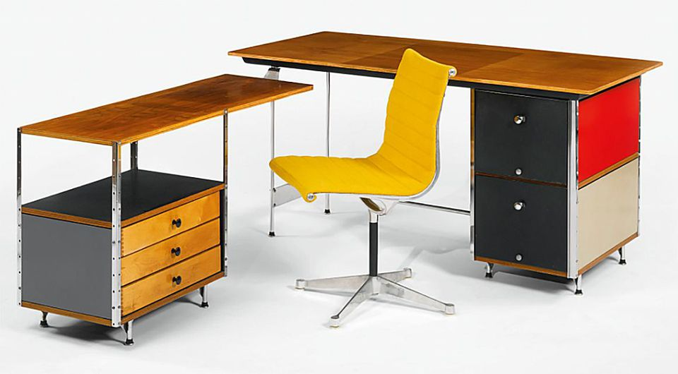 Eames desk and return, c. 1954, and side chair, c. 1958.
