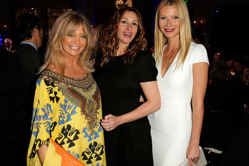 Goldie Hawn, Julia Roberts and Gwyneth Paltrow attend the 3rd annual Sean Penn & Friends HELP HAITI HOME Gala benefiting J/P HRO presented by Giorgio Armani at Montage Beverly Hills on January 11, 2014 in Beverly Hills, California.