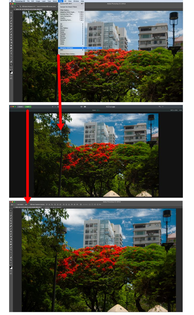 Phioto shows filter selection Photoshop, Editing in Aurora HDR and the Aurora image in Photoshop.