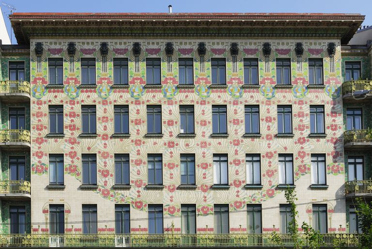 Four-story Majolika Haus with ceramic flowered facade designed by Otto Wagner, Vienna, Austria