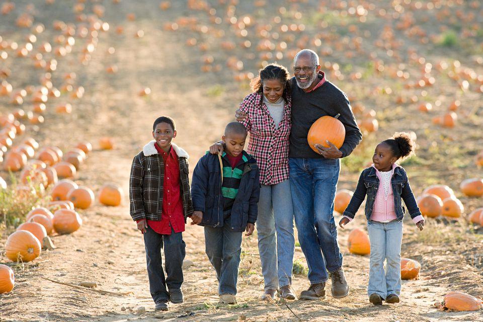 A family walking through a field of pumpkins