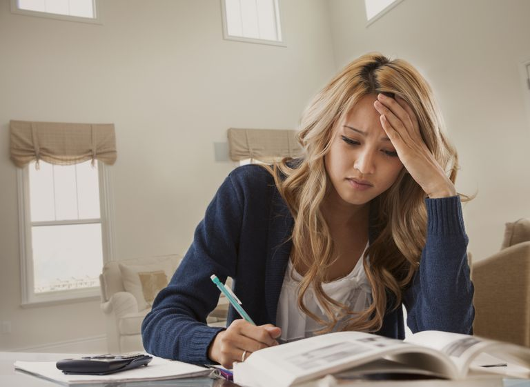 stressed woman studying