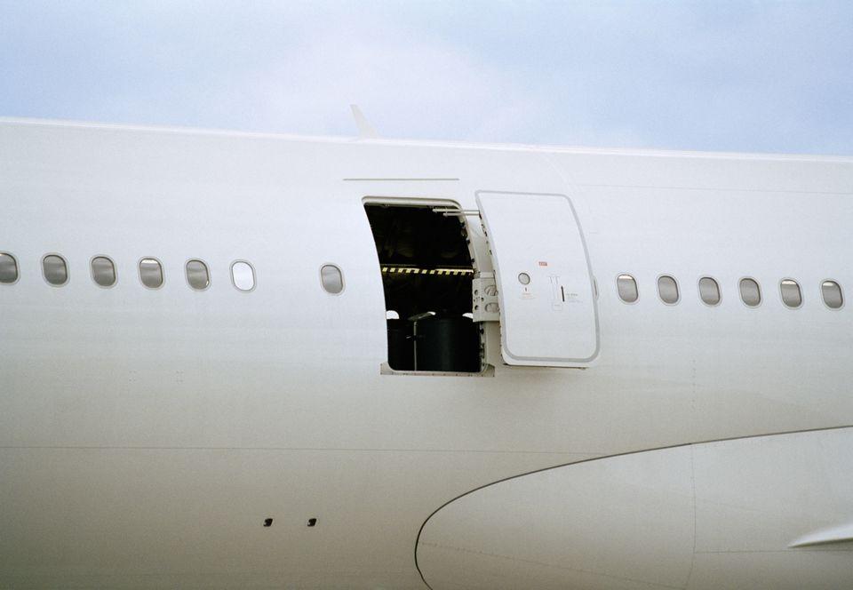 Open door of airplane
