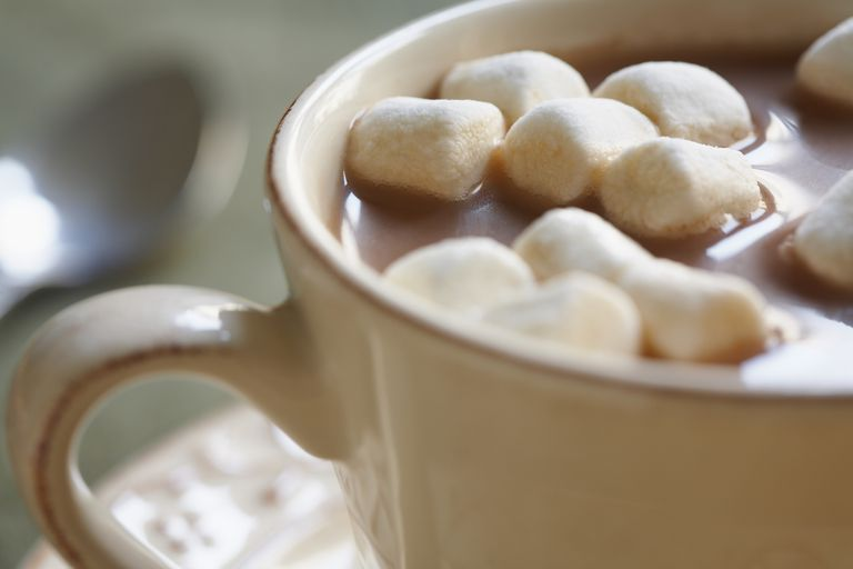 Closeup of hot chocolate with mini marshmallows