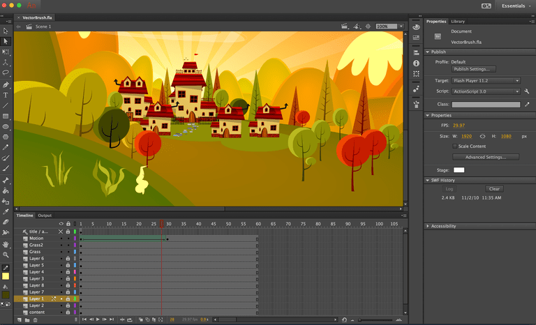 The final Animate project showing the shape tween animation layer.