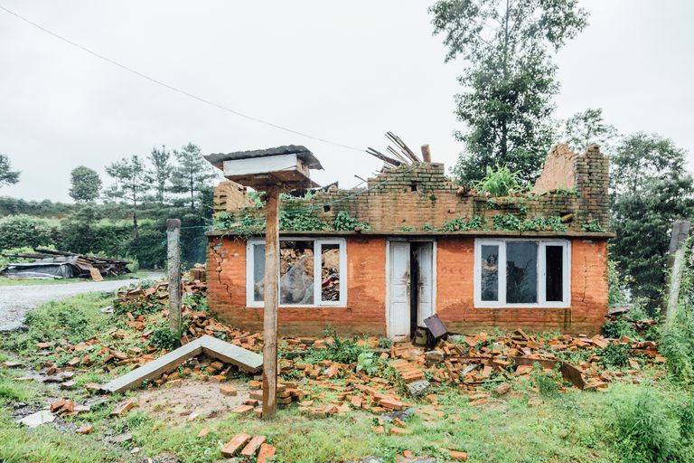 Earthquake destroyed house