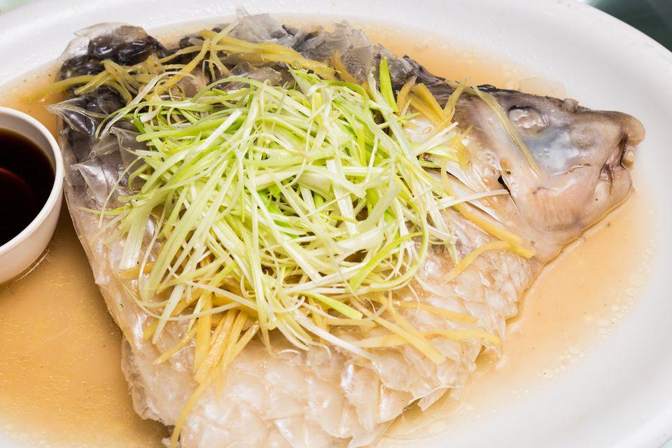Steamed empurau fish ready to eat