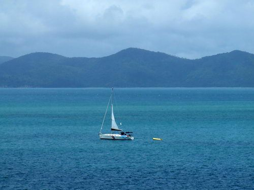 Sailboat in the Whitsunday Islands of Australia near the Great Barrier Reef