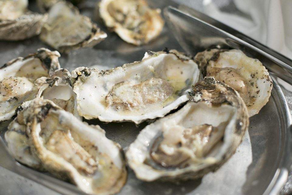 Oysters on the Half Shell on a Silver Platter with Sea Salt