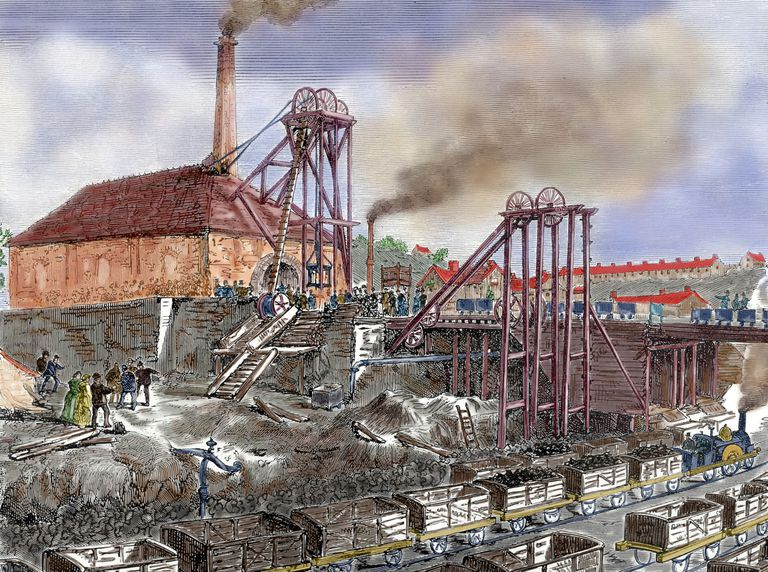 Engraving of mining operation during the Industrial Revolution