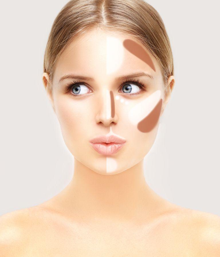 Contour and highlight makeup on a woman's face