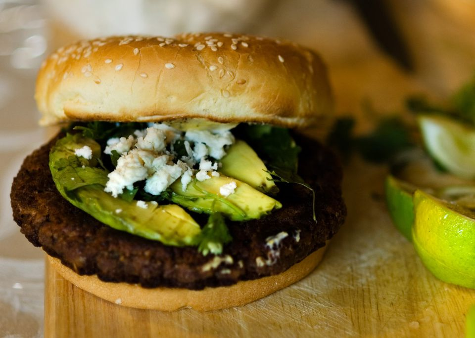 Vegetarian and vegan black bean burgers