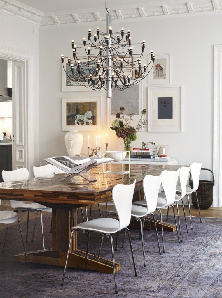 Luxury dining room with stylish chairs