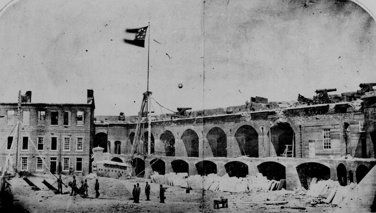 Interior of Fort Sumter after the April 1861 battle.
