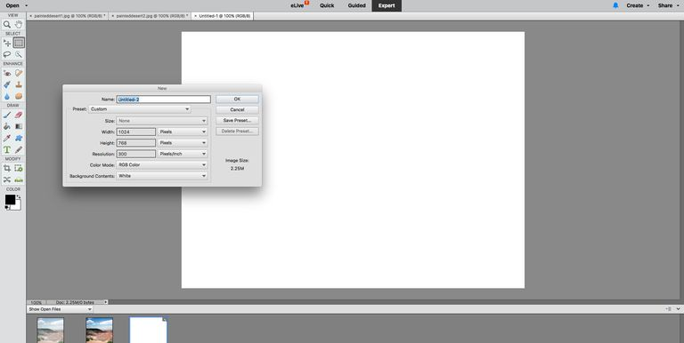 Start by creating a new blank document.