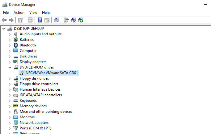 Screenshot of a Black Arrow in Windows 10 Device Manager