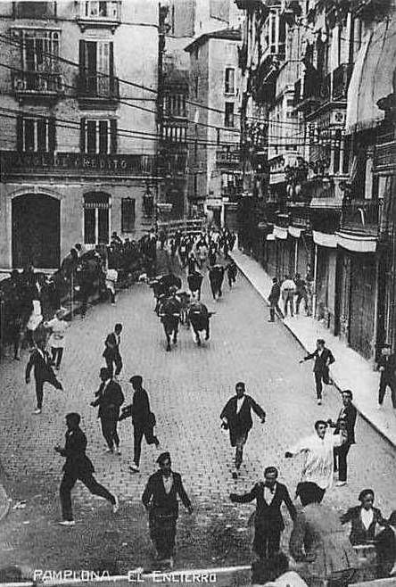 Pamplona Bull Run in times gone by, before the Australians arrived