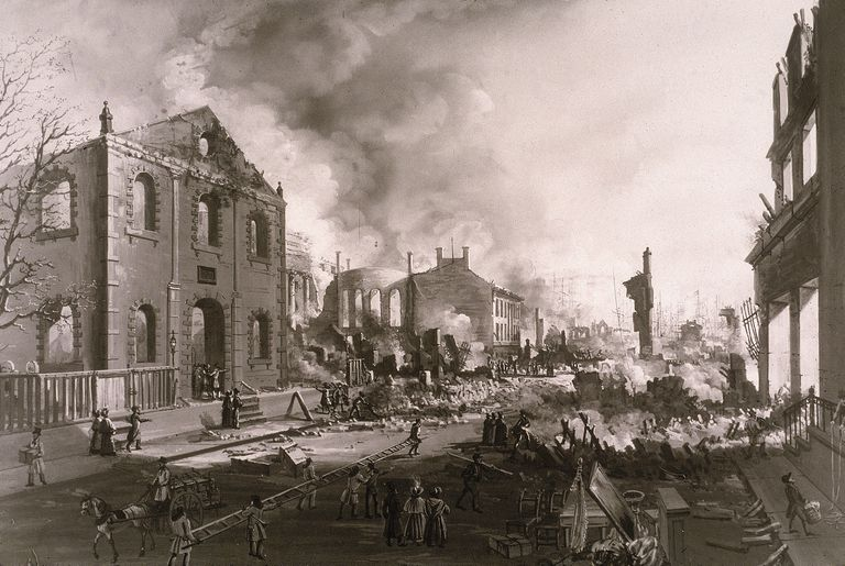 Print showing devastation from New York's Great Fire of 1835