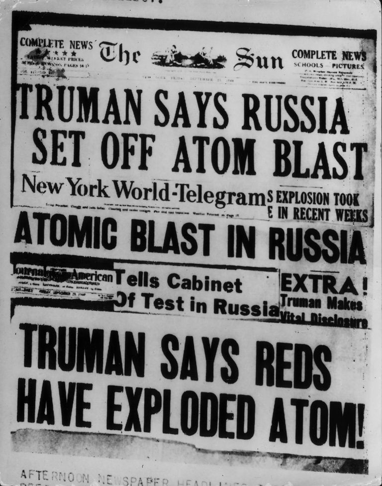 Front page of newspaper with headline, 'Truman Says Russia Set of Atomic Blast.'